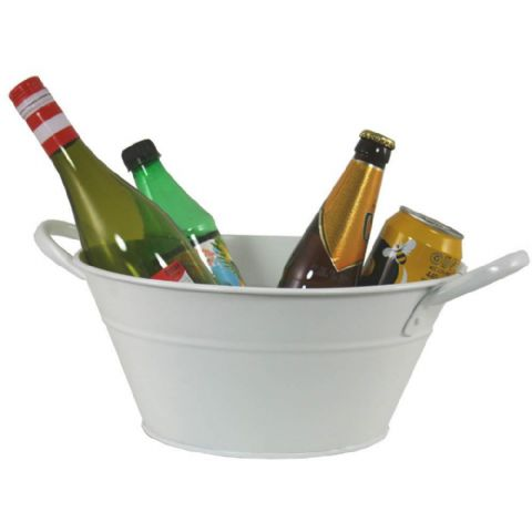 Cream Oval Metal Beer Wine & Drinks Ice Cooler Bucket